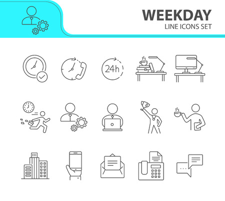 Weekday line icon set. Late for work, coffee break, office building. Business concept. Can be used for topics like worker, employee, manager