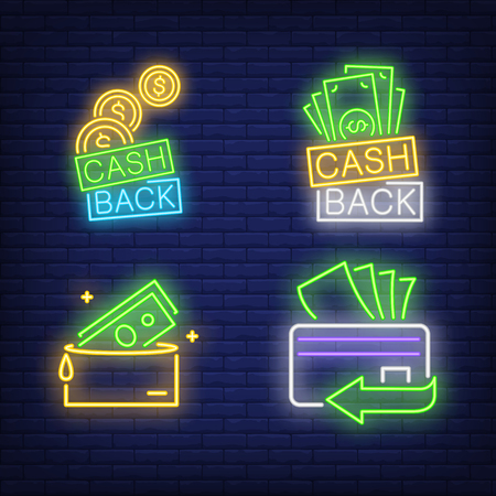 Cash back letterings, plastic card, wallet neon signs set. Money, business, finance design. Night bright neon sign, colorful billboard, light banner. Vector illustration in neon style.