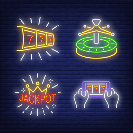 Lucky seven, roulette and jackpot neon signs set. Casino, gambling and leisure design. Night bright neon sign, colorful billboard, light banner. Vector illustration in neon style.