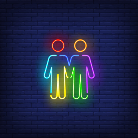 Homosexual male couple neon sign. Rainbow colored guys shape, men, lgbt. Vector illustration in neon style for bright banners, light billboards, gay pride flyer