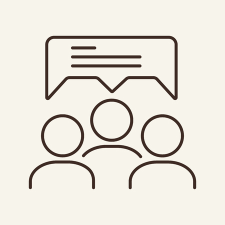 Discussion line icon. Team, group, speech bubble. Human resource concept. Vector illustration can be used for topics like conversation, brainstorming, teamwork Illustration