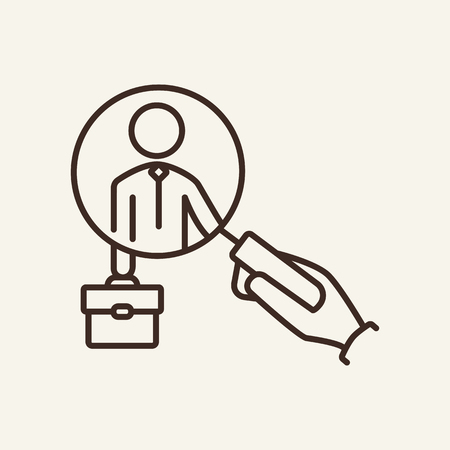 HR line icon. Magnifier glass in hand, candidate with suitcase. Human resource concept. Vector illustration can be used for topics like recruitment, head hunting, professional search