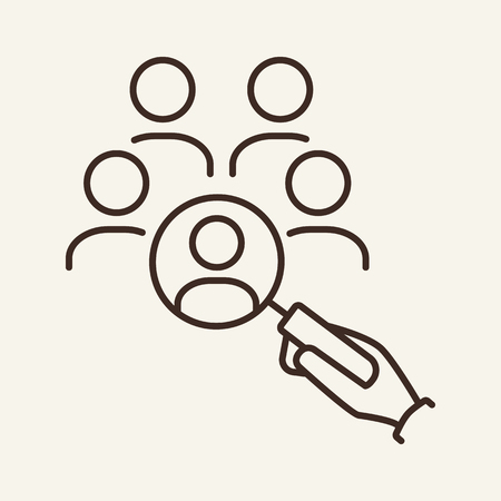 Personnel selection line icon. Magnifier glass in hand, group of candidates. Human resource concept. Vector illustration can be used for topics like recruitment, head hunting, HR