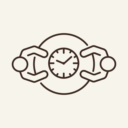 Business meeting line icon. Partners at meeting table and clock. Human resource concept. Vector illustration can be used for topics like communication, interview, negotiation Stock Vector - 121872278