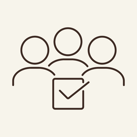 Candidates selection line icon. Group of people and checkmark. Human resource concept. Vector illustration can be used for topics like recruitment, HR, employment, decision Illustration