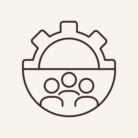 Workgroup line icon. Gear, cogwheel, person shape inside gear. Human resource concept. Vector illustration can be used for topics like work, teamwork, technical project 矢量图像