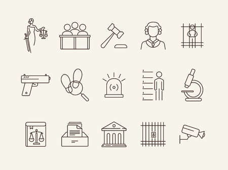 Courthouse line icon set. Jury bench, prison, criminal code. Justice concept. Can be used for topics like court, trial, crime