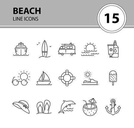 Beach line icon set. Yacht, surfboard, sea, sunset. Vacation concept. Can be used for topics like seaside, tropical resort, summer Ilustração