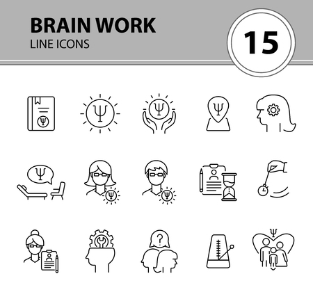 Brain work line icon set. Human head, gear, psychologist office. Psychology concept. Can be used for topics like psychoanalysis, mental activity, science Illustration
