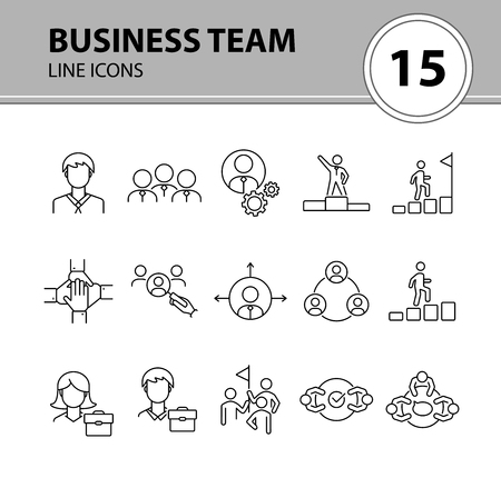 Business team icons. Line icons collection on white background. Meeting, cooperation, support. Company concept. Vector illustration can be used for topic like business, success, human resources Vector Illustratie
