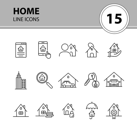 Home line icon set. House, garage, key, lock, cash. Home concept. Can be used for topics like real estate, mortgage, insurance  イラスト・ベクター素材