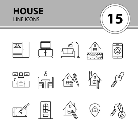 House line icon set. Interior, living room, key. Housing concept. Can be used for topics like real estate purchase, renovation, household