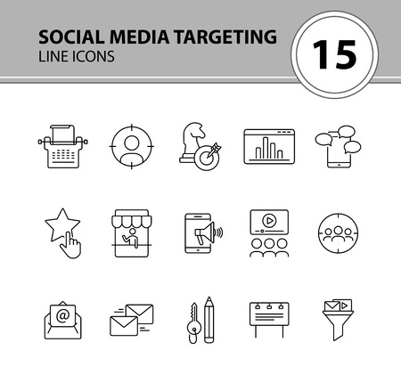 Social media targeting line icon set. Social media and advertising concept. Vector illustration can be used for ptomotion, mobile apps, presentation