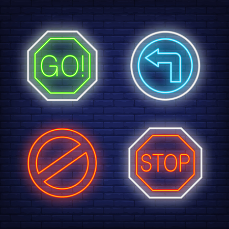 Go, stop, no parking, turn left traffic neon signs set. Road signs or warnings design. Night bright neon sign, colorful billboard, light banner. Vector illustration in neon style.