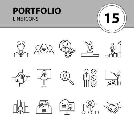 Portfolio icons  Line icons collection on white background  Conference,