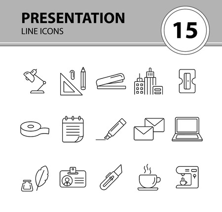 Presentation icon set. Line icons collection on white background. Supply, stationary, workspace. Office concept. Can be used for topics like school, college, business Illusztráció