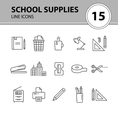 School supplies icon set. Line icons collection on white background. Pencil, document, workplace. Stationary concept. Can be used for topics like education, office, homework Illustration