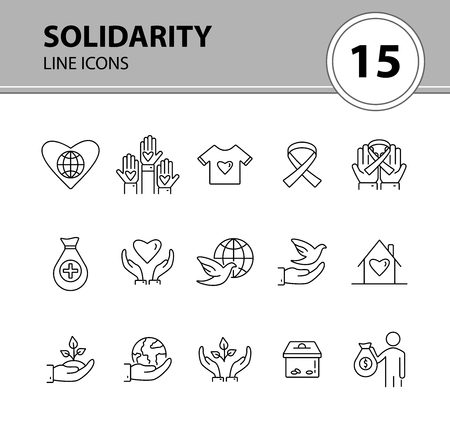 Solidarity icons. Line icons collection on white background. Charity foundation, world peace, ribbon. Support concept. Vector illustration can be used for topics like charity, volunteering, help