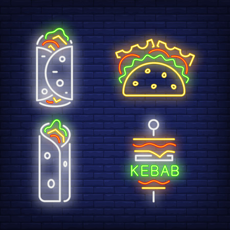 Taco and kebabs neon signs set. Snack, meal, food design. Night bright neon sign, colorful billboard, light banner. Vector illustration in neon style.