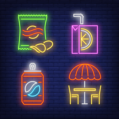 Street cafe, nuts, juice box and drink can neon signs set. Takeaway food, meal, snack design. Night bright neon sign, colorful billboard, light banner. Vector illustration in neon style.