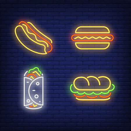 Kebab, sandwich and hotdogs neon signs set. Snack, meal, food design. Night bright neon sign, colorful billboard, light banner. Vector illustration in neon style. Illusztráció