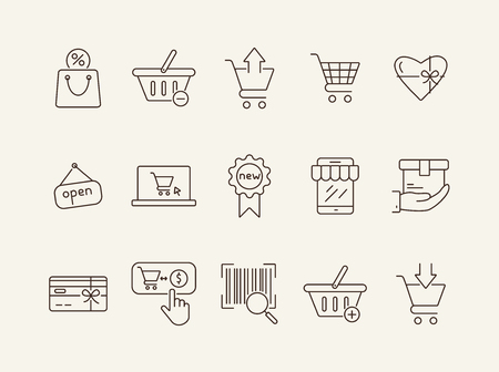 Shopping line icon set. Cart, order, discount. Supermarket concept. Can be used for topics like retail, spending money, consumerism