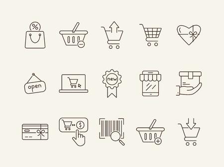 Shopping-Linie-Icon-Set. Warenkorb, Bestellung, Rabatt. Supermarkt-Konzept. Kann für Themen wie Einzelhandel, Geldausgeben, Konsumismus verwendet werden