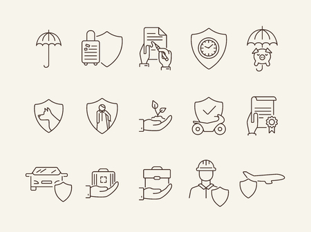 Security line icon set. Shield, protection, service. Insurance concept. Can be used for topics like risk, safety, damage