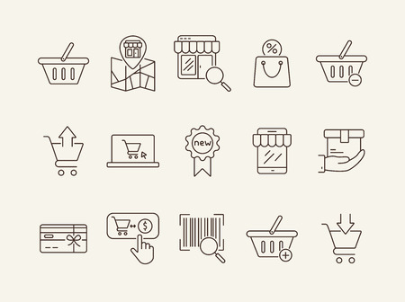 Store line icon set. Cart, order, checkout. Shopping concept. Can be used for topics like online shop, supermarket, retail  イラスト・ベクター素材