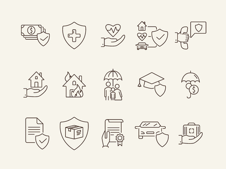 Insurance service line icon set. Shield, guard, guarantee. Safety concept. Can be used for topics like protection, property, accident Ilustrace