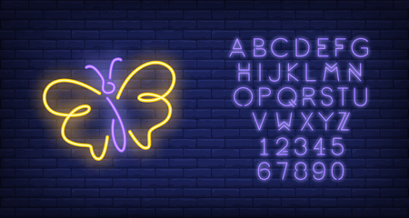 Butterfly with yellow wings neon sign. Nature, summer and beauty concept design. Night bright neon sign, colorful billboard, light banner. Vector illustration in neon style.