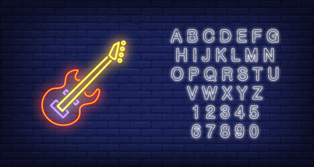 Bass guitar neon sign. Glowing colorful musical instrument on brick wall background. Night bright advertisement. Vector illustration in neon style for stringed instrument and performance