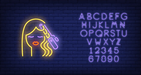 Hair curler curling woman hair neon sign. Hairdressing salon, style and fashion concept. Advertisement design. Night bright colorful billboard, light banner. Vector illustration in neon style. Illustration