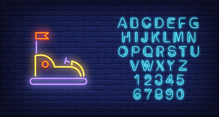 Go kart in amusement park neon sign. Open car with flag on dark wall. Night bright advertisement. Vector illustration in neon style for entertainment and leisure