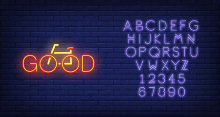 Good neon text and bicycle sign. Bicycling, fitness and sport concept. Advertisement design. Night bright colorful billboard, light banner. Vector illustration in neon style.