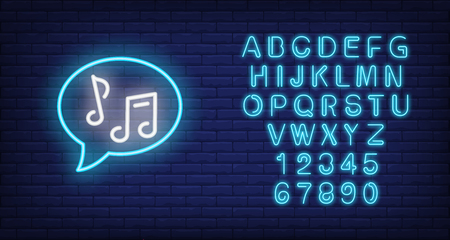 Speech bubble with notes neon sign. Music and sound concept. Advertisement design. Night bright neon sign, colorful billboard, light banner. Vector illustration in neon style. Illustration