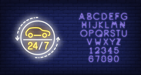 Twenty four hours auto repair shop neon sign. Car in white circle and arrows around. Night bright advertisement. Vector illustration in neon style for auto industry and transport