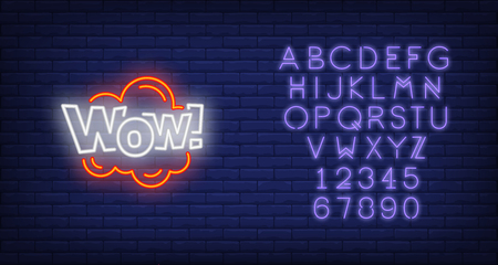 Neon WOW sign. Glowing neon wow inscription in cloud. Surprise concept. Night bright advertisement. Vector illustration for party, advertisement, special offer. Vectores