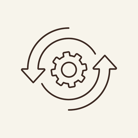 Data management line icon. Cogwheel, mechanism, setting. System concept. Can be used for topics like interface, development, optimization