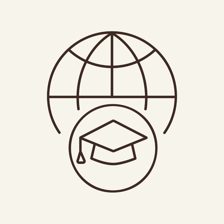 Global education line icon. Globe, graduation cap, academy. International education concept. Can be used for topics like globalization, getting master degree abroad, achievement