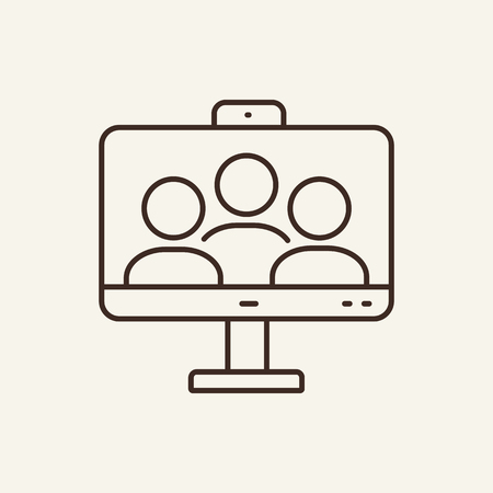 Video conferencing line icon. Web call, people, computer. Meeting concept. Can be used for topics like group chat, webinar, teamwork Vectores