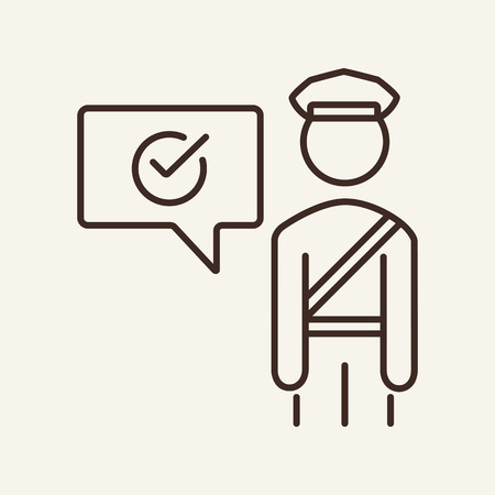 Customs allow line icon. Officer and speech bubble with check mark. Customs concept. Vector illustration can be used for topics like travel abroad, border, approval