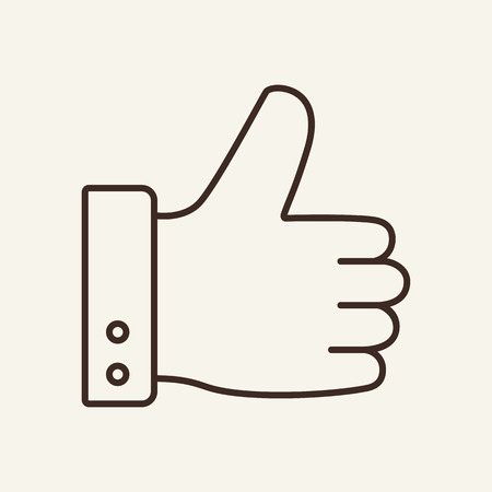 Good choice line icon. Hand, like gesture, thumb up. Web business concept. Vector illustration can be used for topics like positive feedback, recommending, approval Çizim