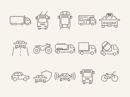 Transportlinie Symbolsatz. Straßenbahn, Wohnmobil, Van, Bus, Fahrrad. Transportkonzept. Kann für Themen wie Fahrzeug, Verkehr, Reisen, Lieferung verwendet werden