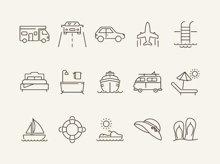 Reiseleitung Symbolsatz. Kreuzfahrtschiff, Auto, Strand, Meer, Hotel. Urlaubskonzept. Kann für Themen wie Reise, Tour, Reisen, Resort verwendet werden
