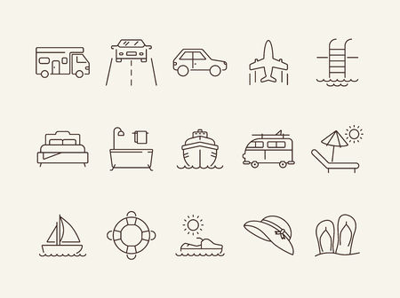 Trip line icon set. Cruise liner, car, beach, sea, hotel. Vacation concept. Can be used for topics like journey, tour, travel, resort