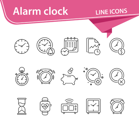 Alarm clock line icon set. Watch, timer, piggy bank. Time concept. Can be used for topics like time management, deadline, time is money 矢量图像