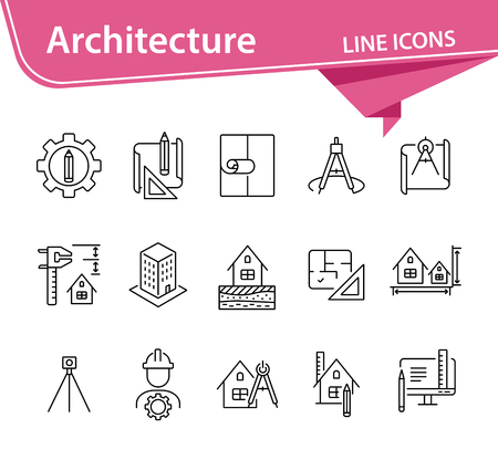 Architecture line icon set. Pencil, ruler, floor plan, building project. Architecture concept. Can be used for topics like house design, construction, engineering, measurement