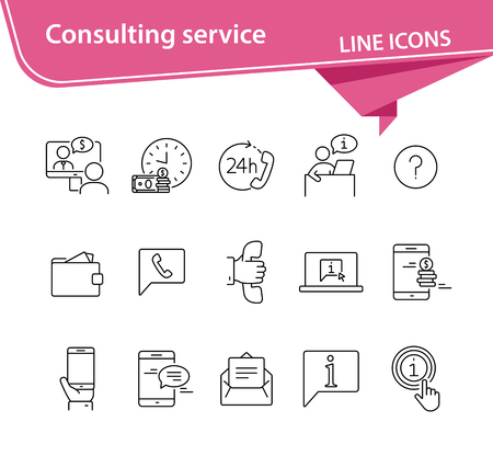 Consulting service line icon set. Telephone, video call, speech bubble, communication. Customer service concept. Can be used for topics like support, help, finance management