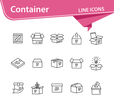 Container line icon set. Delivery and packaging concept.Vector illustration can be used for topics like post office, courier, logistics